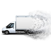 3D render of a flat bed van with a speed effect added